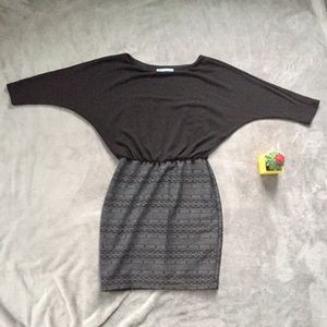 Maurice's Dolman Black Dress w/Grey Aztec Skirt